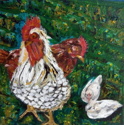 Rooster Family. Oil on canvas 20 x 20 x 4 cm
